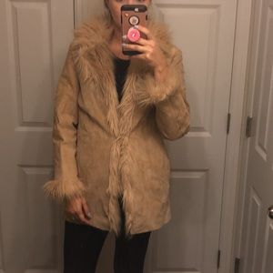 Genuine Suede Faux Fur Coat